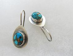 Mojave turquoise teardrop earrings  artisan crafted by Colorismine