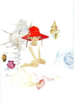 貝がらと赤い帽子の少女-いわさきちひろ