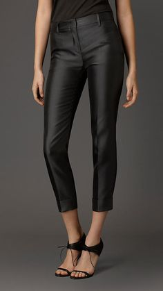 Tailored trousers made from a lustrous technical silk blend. Cut in a modern fit, the straight leg trousers feature a sharp pintuck crease and a flat front with concealed zip and button closure. Burberry 2015, Got The Look, Tailored Trousers, Fashion Essentials, Pin Tucks, Black Silk, Casual, Leather Pants, Women Wear