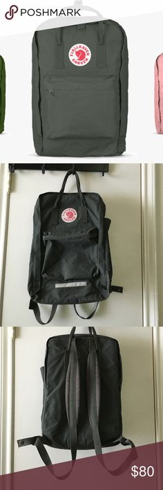 """Kanken 17"""" Laptop Backpack in Forest Green This 17"""" laptop backpack has padded shoulder straps. Large main compartment, one side pocket and a zippered pocket in the front. The entire bag is made of durable Vinyl on F. Lightly used. Price is negotiable. Fjallraven Bags Backpacks"""