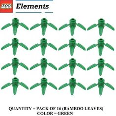 Lego Parts Plant Round 1 x 1 with 3 Bamboo Leaves PACK of 16 Green Bamboo Leaves *** Details on this STEM item can be viewed on Amazon website by clicking the VISIT button