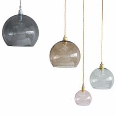 These beautiful coloured glass pendant lights look stunning alone or mixed and matched.  All four sizes are available in all colours shown.  - Available to order with a 6 week lead time. - Lightbulbs not included. All lamps take standard screw (E27) bulbs with the exception of the petite which takes a small screw (E14) bulb. - Wire colour is dependent on glass colour and is 2m long.