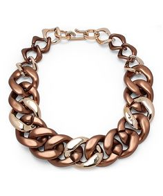 Love this Goldtone & Copper Cuban Chain Necklace by HMY Jewelry on #zulily! #zulilyfinds