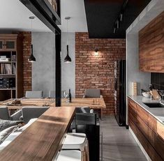45 ideas for house interior kitchen exposed brick Modern Kitchen Design, Interior Design Kitchen, Brick Interior, Home Decor Kitchen, Home Kitchens, Room Kitchen, Kitchen Ideas, Luxury Kitchens, Open Kitchen