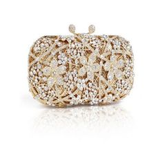 Opera Rhinestone Crystal Gold Evening Clutch Bag ($100) ❤ liked on Polyvore featuring bags, handbags, clutches, hand bags, gold evening purse, evening handbags, evening purses and man bag