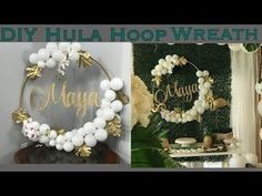Tutorial for the balloon hula hoop wreath shown in my Aloha Baby Tropical Baby S. Tutorial for the Gold Confetti Balloons, Diy Confetti, Diy Baby Shower Decorations, Diy Wedding Decorations, Balloon Centerpieces, Balloon Decorations, Chandelier Centerpiece, Tissue Paper Flowers Easy, Diy Wreath