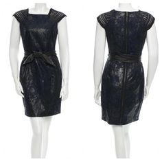 Yigal Azrouel Mix Media Dress Black and Navy blue dress with darts at front, beading at shoulders and leather tie detail at waist. Very good condition! Yigal Azrouel Dresses