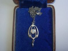 Beautiful Art Nouveau Jugendstil Sterling Silver Lavalier Pendant Moonstone | eBay