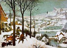 Охотники на снегу - январь. Питер Брейгель Старший. Описание картины, скачать репродукцию.