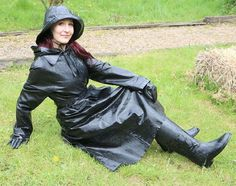 """""""I adore it when the maid, stands submissively, drops to her knees, the shoulders go forward and the cleaning commences! Black Raincoat, Rubber Raincoats, Long Leather Coat, Rain Gear, Weather Wear, Raincoats For Women, Preppy Style, Black Rubber, Riding Boots"""