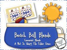 Beach Ball Blends: A Not So Wimpy File Folder Game (consonant blends) Articulation Activities, Language Activities, Classroom Activities, Autism Activities, Kindergarten Reading, Teaching Reading, Kindergarten Phonics, Kids Reading, Reading Skills