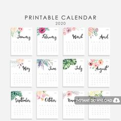 A 2019 calendar with beautiful watercolor flowers. Perfect for your family's command center, for your desk or for your office. Cute Calendar, Vintage Calendar, Print Calendar, Printable Calendar Template, 2021 Calendar, Calendar Journal, Watercolor Free, Watercolor Flowers, Backgrounds