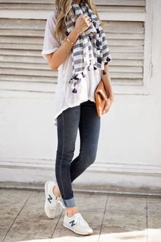 SPRING & SUMMER FASHION TRENDS 2017! Ask your stitch fix for items like this when you sign up today by clicking on the pic, filling out your style profile. Just $20 & that goes towards any item you purchase. #stitchfixinfluencer Athleisure. New Balance, skinny jeans, white tee & scarf #TodaysFashionTrends