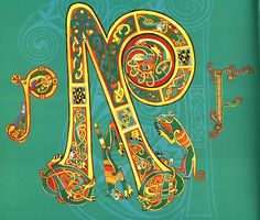 Miniature 1997 N initial letter Kells Dublin Trinity College Ireland Irish Celtic, Celtic Art, Illuminated Letters, Illuminated Manuscript, Science Illustration, Book Of Kells, Grey Cats, Celtic Designs, Initial Letters