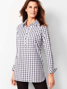 Discover your modern classic look with Longer Length Perfect Tunic - Scotch Plaid from Talbots. Shop our clothes, shoes and accessories to complete your look. Classic Style Women, Classic Looks, Scottish Plaid, Red Leggings, Plaid Tunic, Tailored Shirts, Petite Tops, Cut Shirts, Linen Dresses