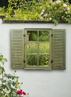 Wooden-Garden-Mirror-Glass-with-Shutters-Outdoor-Illusion-Window-Antique-Green Fake mirror window for shed £45