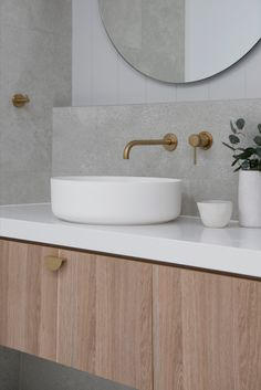 Nothing beats a round bowl when you're looking to create a coastal style bathroom. Our Coastal Ensuite features the Celine Matte White Basin from ABI Interiors. Whatever the style of your new home or reno, choose products to complement that style. It's all the little details combined that result in a designer look, and take your home to the next level. Follow us on Instagram and Pinterest for all the latest design tips, trends and products for designing and styling your home.  Bathroom Basin, Bathroom Renos, Small Bathroom, Modern Bathroom Design, Bathroom Interior Design, Coastal Powder Room, Relaxing Bathroom, Basin Design, Victorian Bathroom