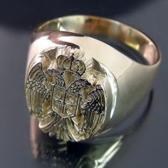 """~~ """"Serbian Coat of Arms Ring: Stunning detail in this men's gold ring featuring the classic two headed eagle crest and 4 Cs"""""""