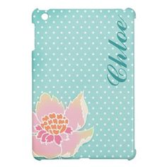 Vintage Blue Polka Dot Flower iPad Mini Case