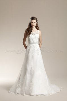 Jasmine Bridal - Collection - F151012 is a beautiful A-line gown with an embellished sheer neck treatment. Wonderful deep v back