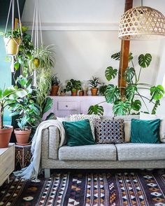Bohemian living room decor ideas may help you to have a super cozy yet stylish living room. The living room is a place to spend your leisure time. Thus, decorating your living room is essential. Living Room Plants, Room With Plants, Living Room Decor, Plant Rooms, Garden Living, Bohemian Living Rooms, Boho Room, My New Room, Plant Decor