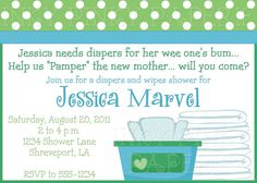 Diapers and wipes shower invitation by inkypinkypaperie on Etsy, $15.00