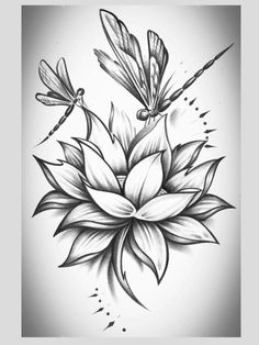 Flower and two dragonflies tattoo - right shoulder