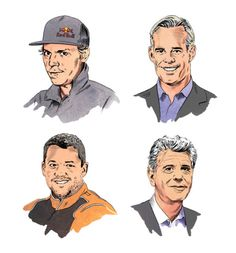Clockwise from top left: Travis Rice; Joe Buck; Anthony Bourdain; Tony Stewart