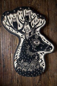 carved reindeer head