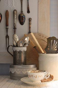 display of kitchen utensils