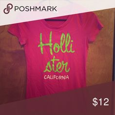 Hot Pink Hollister Tshirt Gently used, good condition. Size medium. *Willing to discount if bought with another Hollister Tshirt or more* Hollister Tops Tees - Short Sleeve