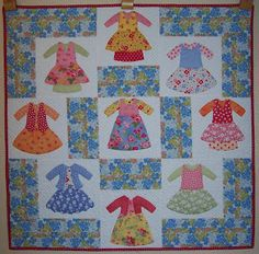 Colleen's Quilting Journey: Dolly Dress Up Baby Girl Quilts, Girls Quilts, Quilt Block Patterns, Quilt Blocks, Dolly Dress Up, Little Girl Dresses, Girls Dresses, Mini Quilts, Girly Things