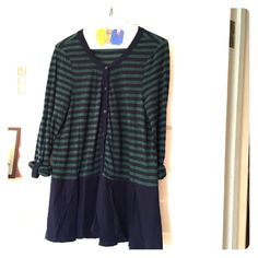 Anthropologie Striped Peplum Tunic Cotton/poly blend Anthropologie top featuring hunter green/navy striped button front top, navy peplum and roll cuff buttoned sleeves. Perfect with skinny jeans and knee high boots. Worn twice; minimal wear. Anthropologie Tops Tees - Long Sleeve
