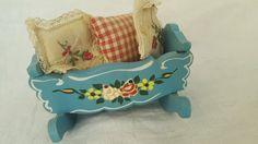 Vintage Dora Kuhn German Dollhouse Furniture Baby Cradle w/bedding larger sz   eBay