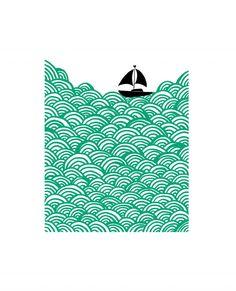 Bigger Boat in ultramarine green | Mengsel Design | Affordable Art. Contemporary Art. Hand printed silkscreen printing. DegreeArt.com £85.00