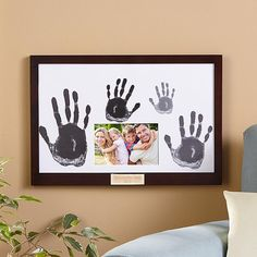 Need a unique gift? Send Family Handprint & Frame and other personalized gifts at Personal Creations. Family Crafts, Baby Crafts, Fun Crafts, Crafts For Kids, Family Art Projects, Simple Crafts, Rock Crafts, Summer Crafts, Craft Gifts