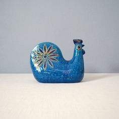 Mid Century Bitossi Blue Rooster Figurine for by MidModMomStore