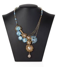 Elegant Statement Necklace, Asymmetric azurite Light Blue One of a kind necklace, Swarovski Crystal Chain for woman, evening jewelry 4681. $780.00, via Etsy.