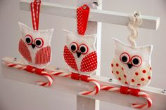 Candy cane Owls - I'm so making these...