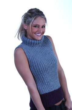 Free Loom Pattern kb-RibbedVest Loom-Knit Turtleneck Ribbed Vest : Lion Brand Yarn Company