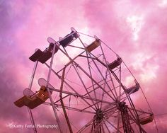 Carnival Ferris Wheel & Surreal Dreamy Hot Pink Sky