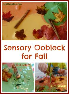 This sensory oobleck for fall uses kitchen ingredients and is the perfect autumn activity for children who like to be hands-on!
