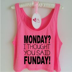 Monday? I thought you said Funday! Funny Gym Tank Top. Workout Tank. Yoga Tank. Gym Vest. Workout Shirt. Gym Clothes. Funny Gym Shirt by SoPinkUK on Etsy