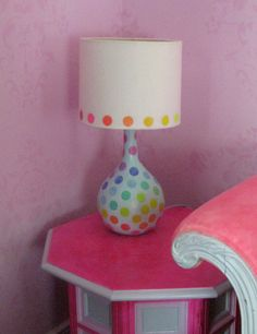 Rainbow dot lamp and shade by Fairyhome on Etsy, $68.80