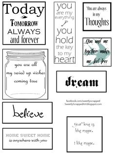 Free printables - Great additions to scrapbooks & smash books! Love the key to my heart, for a scrapbookpage with my husband and our sons.