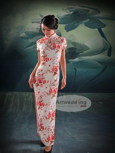 Traditional Chinese wedding dress. White, like I want my wedding dress to be but has red florals that are traditional.