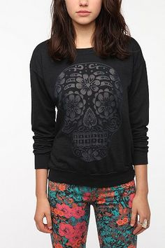 Digging this Skull Sweatshirt. - UrbanOutfitters-Truly Madly Deeply Burnout Skull Sweatshirt