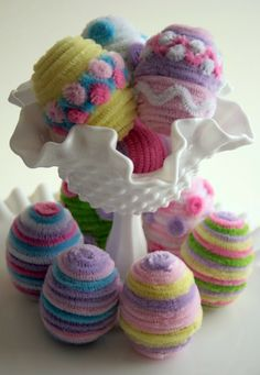 Pajama Crafters: Fuzzy Easter Eggs- I would love to do this! but then what do i do with all these pretty eggs.