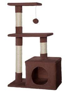 Arbre a chat Amazon avec griffoir et centre d'activites couleur brun