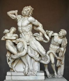 Art in Vatican: Laocoon sculpture - Depicts the Trojan priest Laocoon and his 2 sons struggling with a serpent sent by the gods.: Photo of Skip the Line Private Tour: Vatican Museums and St Peter's Art History Walking Tour by Viator user Anonymous Ancient Greek Sculpture, Ancient Greek Art, Greek Statues, Ancient Rome, Ancient Greece, Buddha Statues, Stone Statues, Angel Statues, Rome Antique